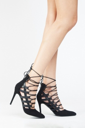 Lace Up Suedette Court Heels