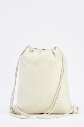 Leaf Printed Drawstring Bag