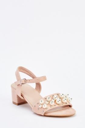 ac6a1da1749e Pearl Suedette Mid Heel Sandals - Just £5