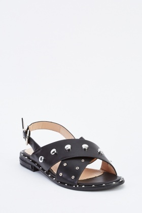 Studded Cross Strap Flat Sandals