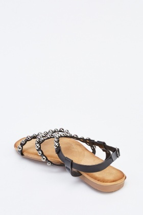 Studded Cut Out Flat Sandals