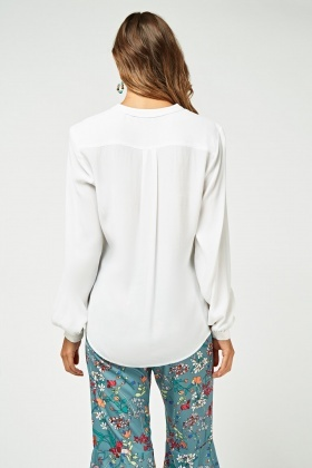 Collarless Slit Front Crinkled Blouse