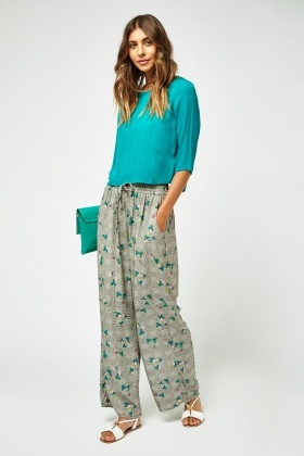 Contrasted Plaid Print Wide Leg Trousers