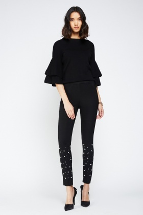 Embellished Faux Pearl Trousers