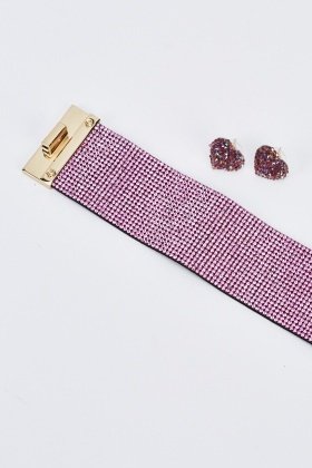 Encrusted Cuff Bracelet And Earrings Set