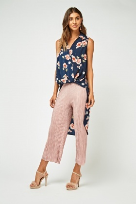 Floral Print Dip Hem Sheer Wrap Top