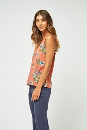 Printed Lace Trim Cami Top