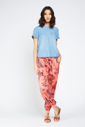 Printed Sheer Trousers