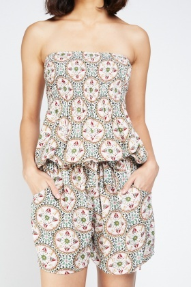 Printed Strapless Playsuit