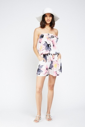 Strapless Printed Frilly Playsuit