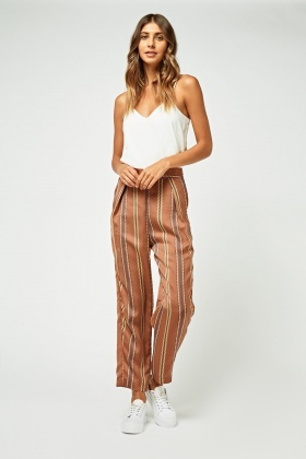 Stripe Printed Tapered Trousers