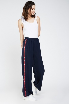Contrasted Side Wide Leg Jogger Pants