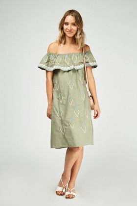 Embroidered Frilly Off Shoulder Dress