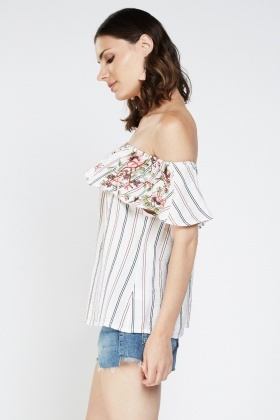 Embroidered Frilly Off Shoulder Top