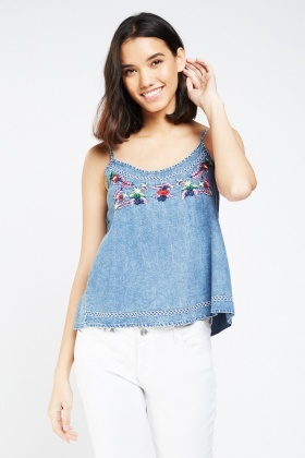 Floral Embroidered Denim Cami Top