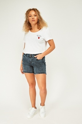 Frayed Raw Edge Denim Shorts