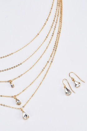 Layered Diamante Necklace And Earrings Set