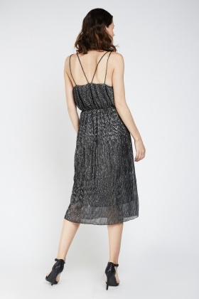 Metallic Double Strap Plisse Dress