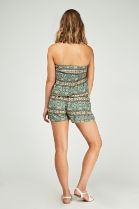 Moroccan Print Strapless Playsuit
