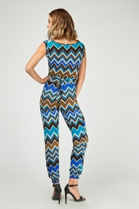 Printed Cowl Neck Jumpsuit