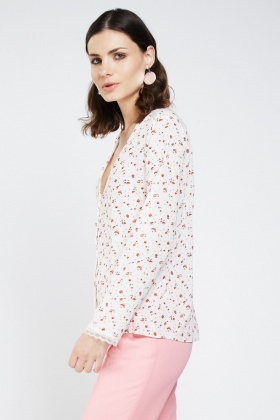 Printed Lace Trim Blouse
