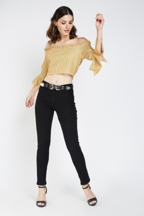 Striped Frilly Sleeve Crop Bardot Top