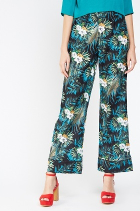 Tropical Print Flared Trousers