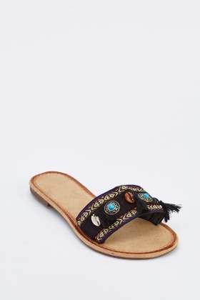 Beaded Tassel Trim Flat Sandals