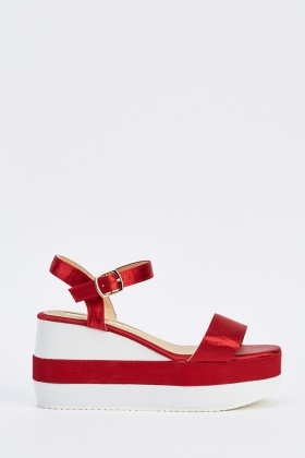 Colour Block Sateen Wedge Sandals