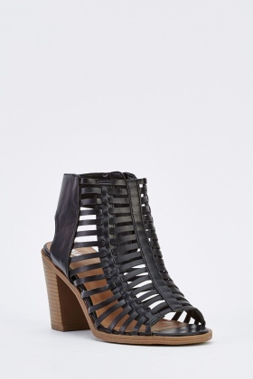 Cut Out Gladiator Heeled Sandals
