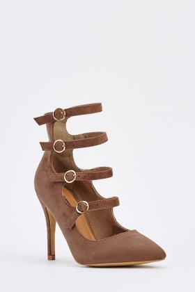 Cut Out Strappy Suedette Heels