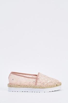 Embroidered Crochet Overlay Espadrilles