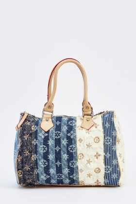 Multi Patched Contrast Duffle Bag