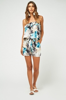 Strapless Floral Print Frilly Playsuit
