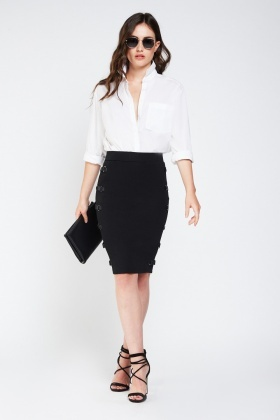 Buckle Side Midi Skirt