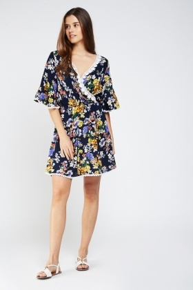 Crochet Trim Printed Wrap Dress