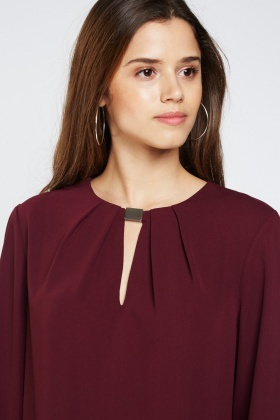 Detailed Keyhole Front Blouse
