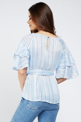 Embellished Metallic Striped Frilly Top