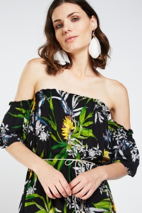 Floral Print Off Shoulder Midi Dress