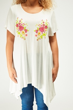Flower Embossed Front Asymmetric Top