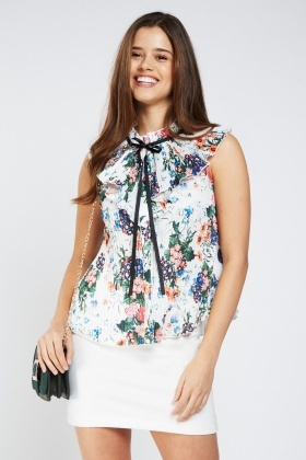Printed Pleated Overlay Chiffon Top