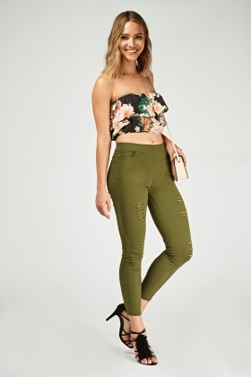 Ripped Front Skinny Jeggings