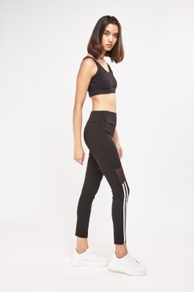 Striped Front Sports Leggings