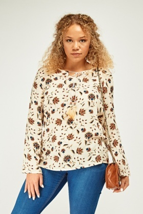Tie Up Floral Print Top