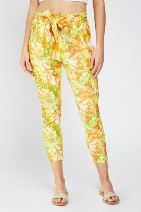 Tropical Print Tapered Trousers