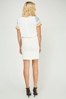 Cut Out Mesh Contrast Skirt