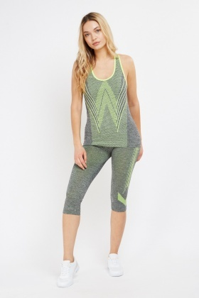 Dotted Mixed Sports Tank And Cropped Leggings Set