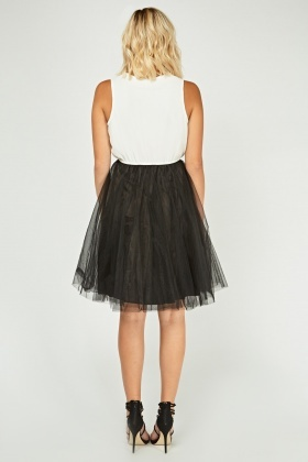 Embellished Frilly Mesh Overlay Dress