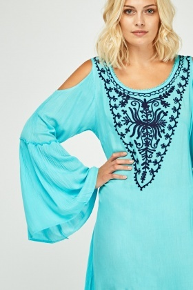 Embroidered Cold Shoulder Tunic Dress