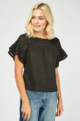 Frilly Short Sleeve Sheer Top